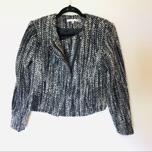 CAbi Black and White Wool Blend Tweed Full Zip